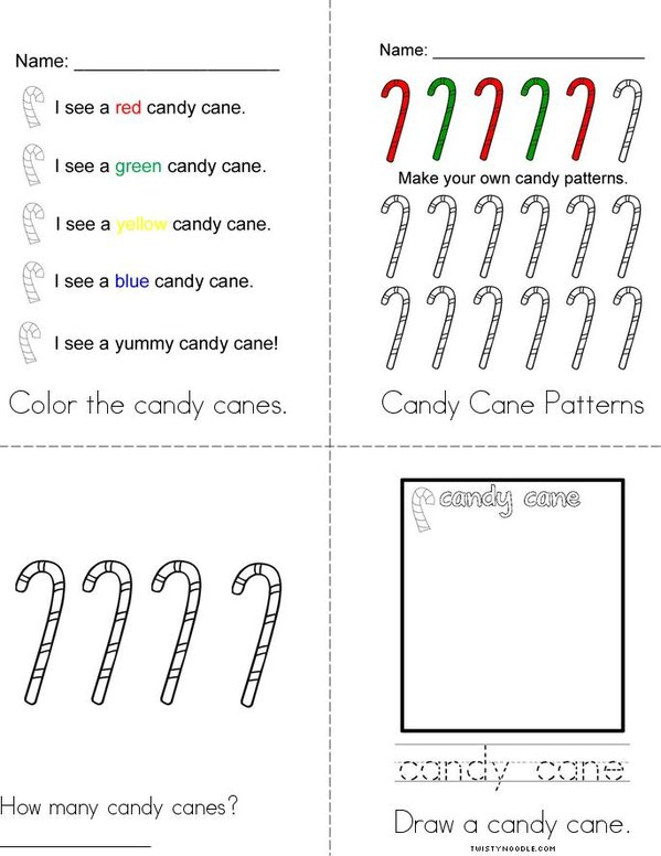My Candy Cane Book Mini Book - Sheet 2