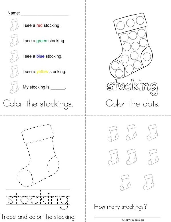 Stocking Activity Book Mini Book