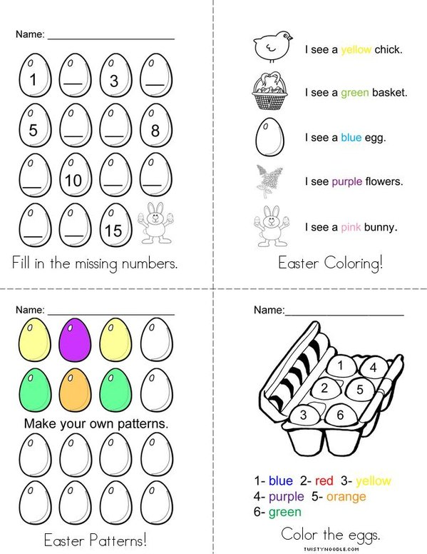 Easter Activity Book Mini Book