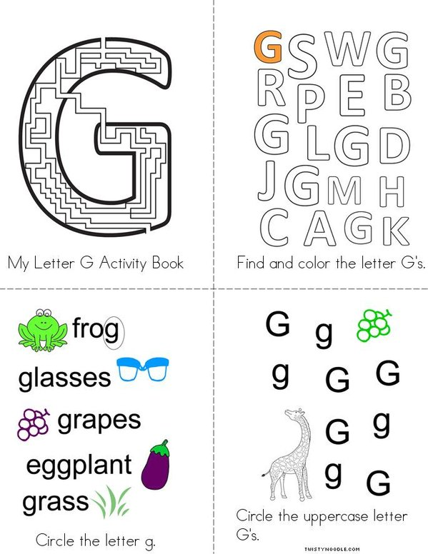Letter G Activity Book Mini Book