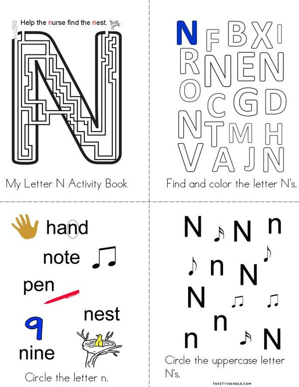 Letter N Activity Book Mini Book