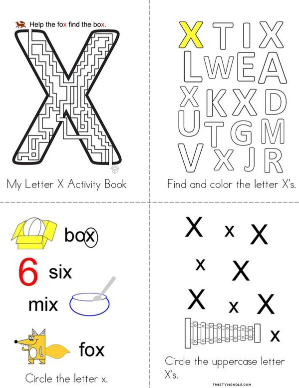 letter x activity book