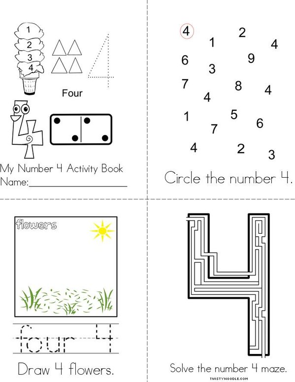 Number 4 Activity Book Mini Book