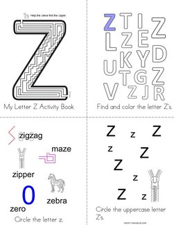 Letter Z Activity Book