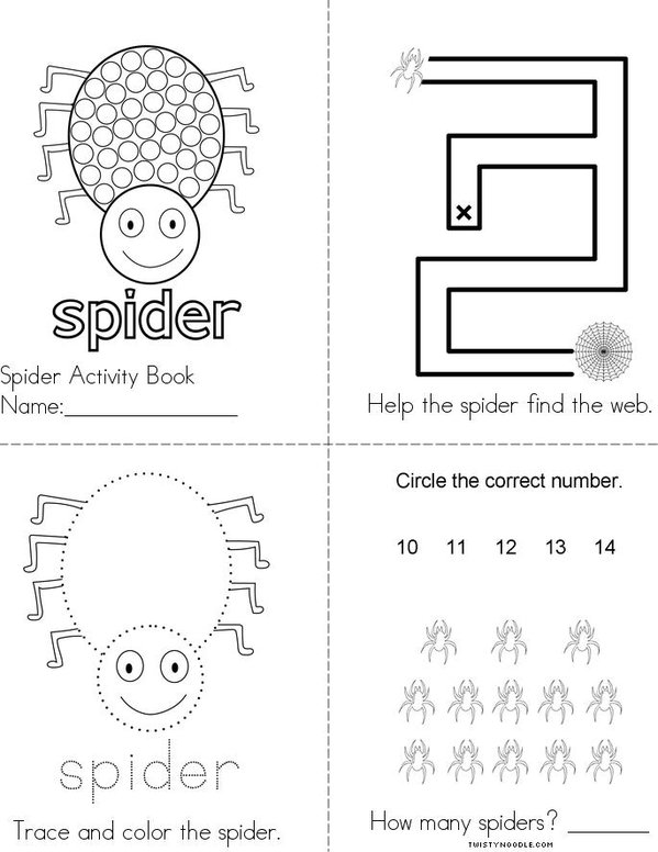 Spider Activity Book Mini Book