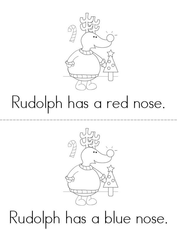 What Color is Rudolph's Nose? Mini Book - Sheet 1