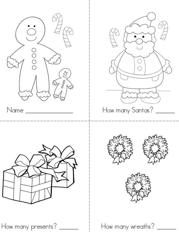 Christmas Counting Mini Book - Sheet 1