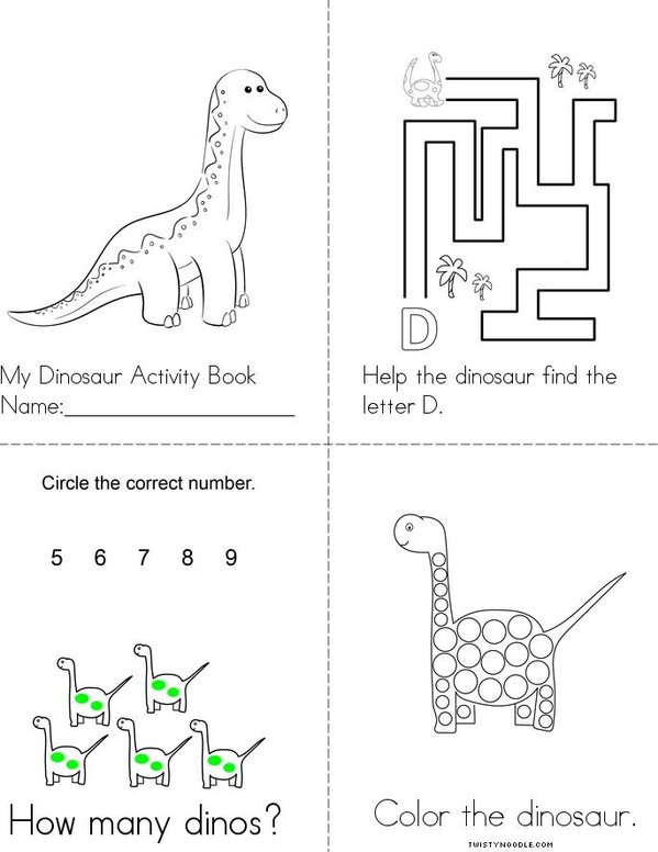 Dinosaur Activity Book Mini Book