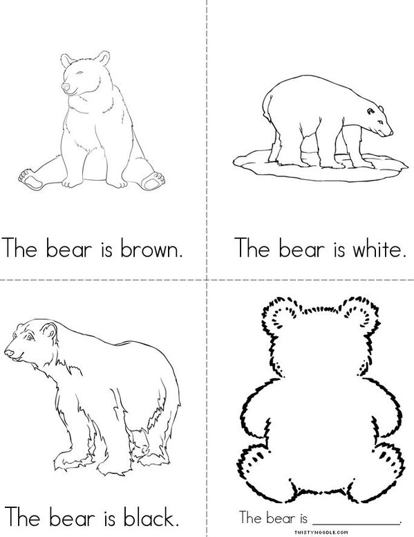 Colorful Bears Mini Book