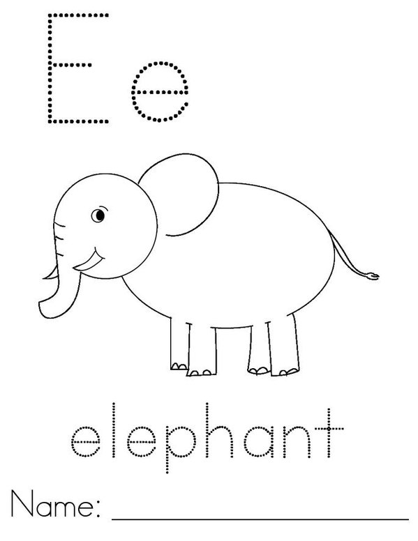 E is for Elephant Mini Book - Sheet 1