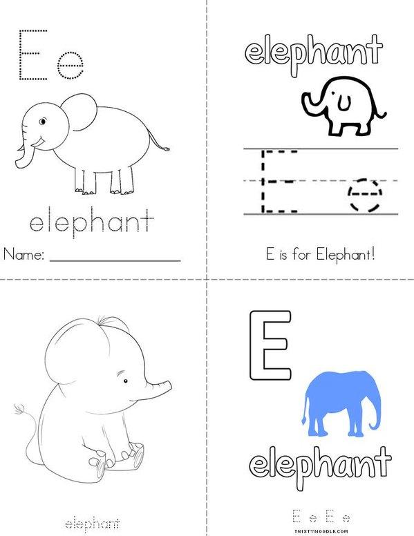E is for Elephant Mini Book