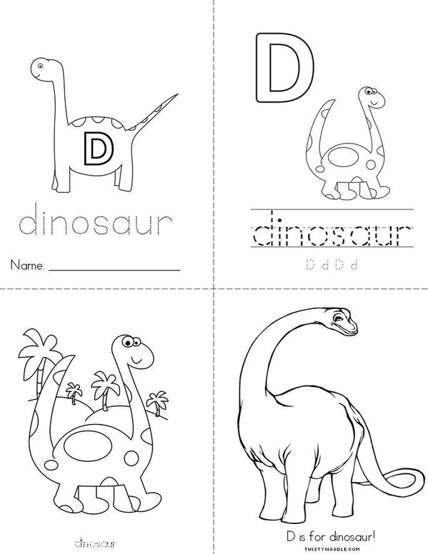 D is for Dinosaur Mini Book