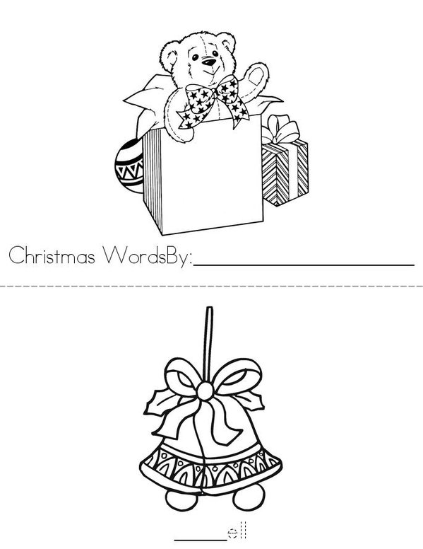 Christmas Words Mini Book - Sheet 1