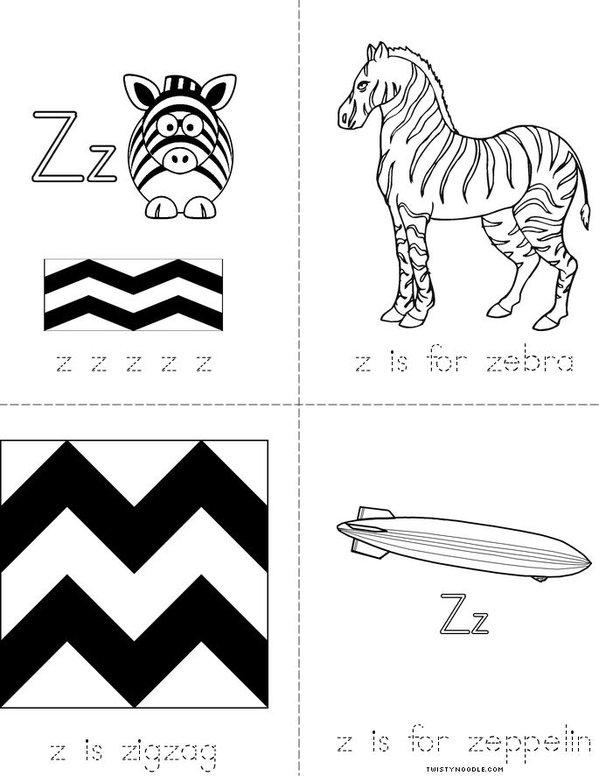 Letter Z Mini Book