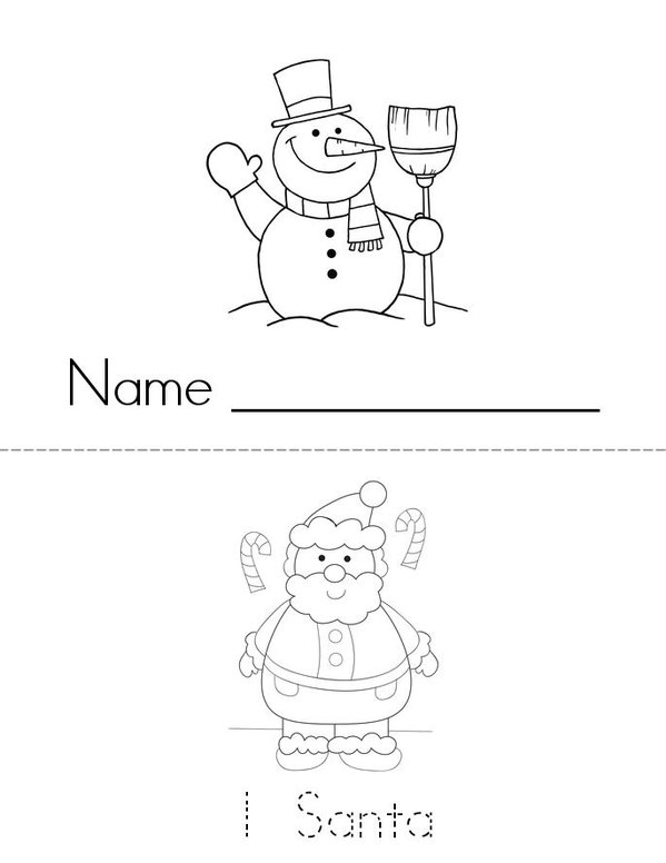 Christmas Counting 1-9 Mini Book - Sheet 1