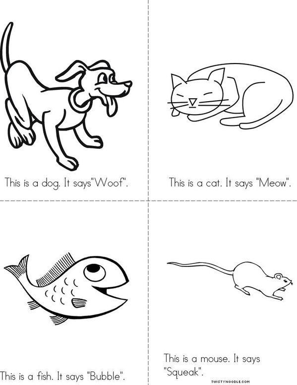 What Animals Say Minibook on Printable Mini Coloring Book