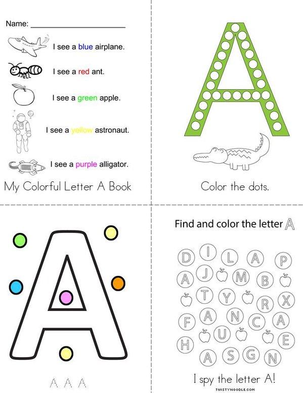 My Colorful Letter A Mini Book