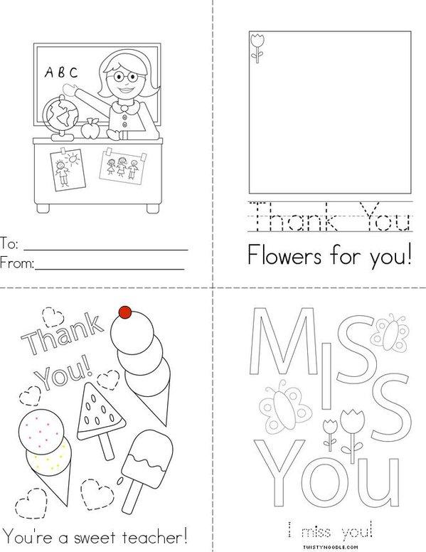 For My Teacher Mini Book