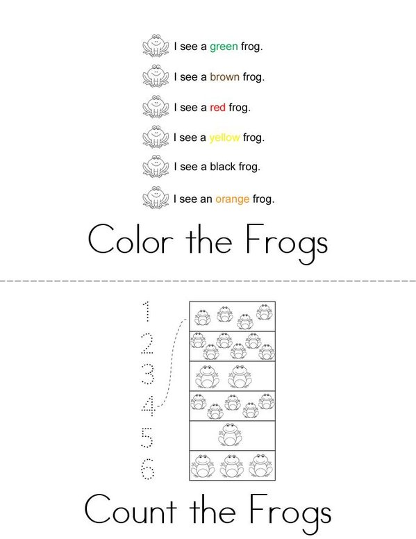 Frog Activity Book Mini Book - Sheet 1