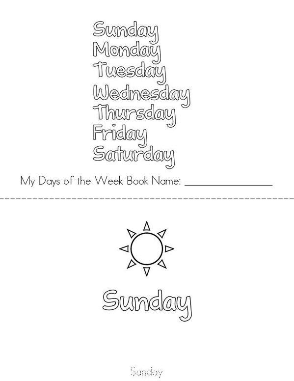 Days of the Week Mini Book - Sheet 1