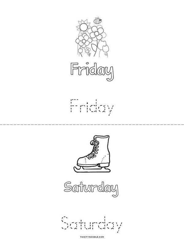 Days of the Week Mini Book - Sheet 4