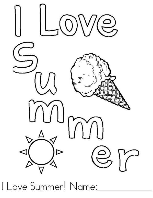 I Love Summer Mini Book - Sheet 1