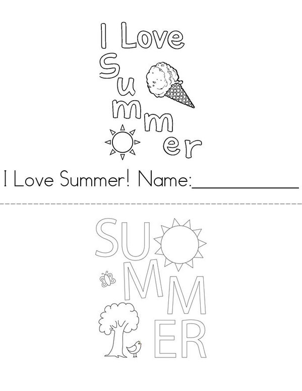 I Love Summer Mini Book - Sheet 1