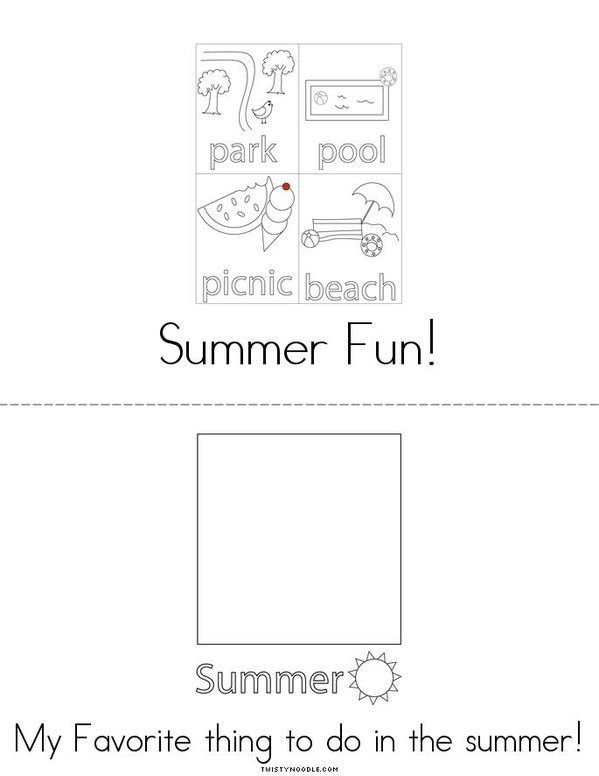I Love Summer Mini Book - Sheet 2