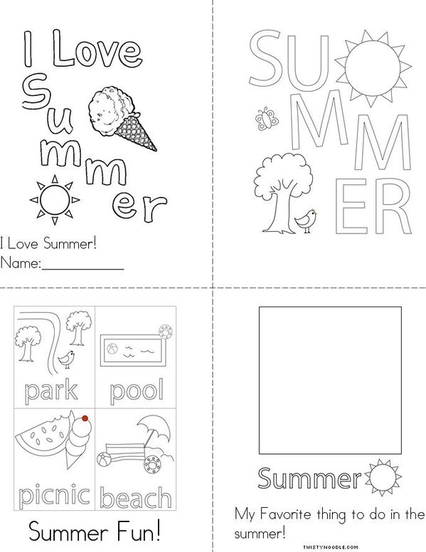 I Love Summer Mini Book