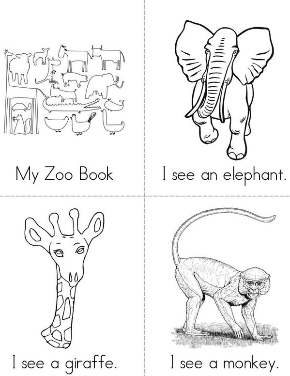 My Zoo Book Mini Book - Sheet 1