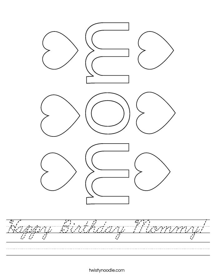 Happy Birthday Mommy! Worksheet