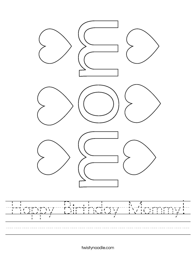 Happy Birthday Mommy! Worksheet