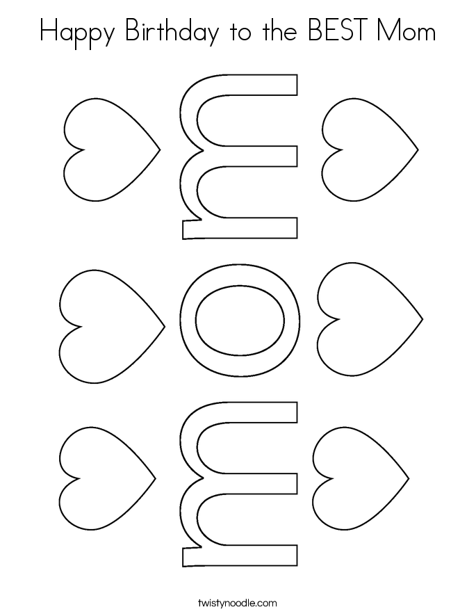 Happy Birthday to the BEST Mom Coloring Page