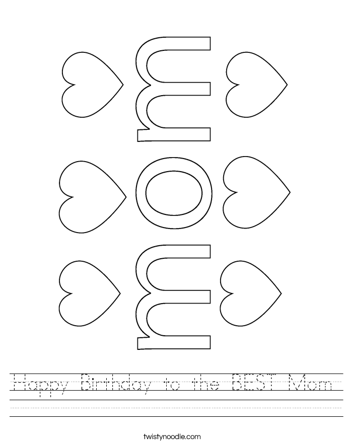 Happy Birthday to the BEST Mom Worksheet