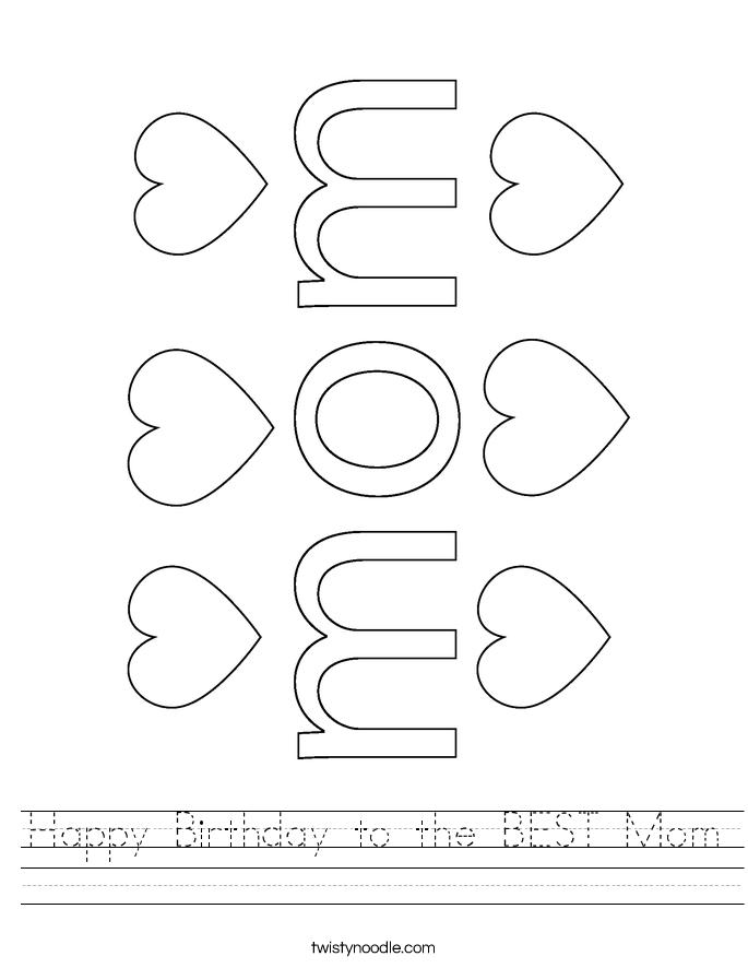 Happy Birthday to the BEST Mom Worksheet
