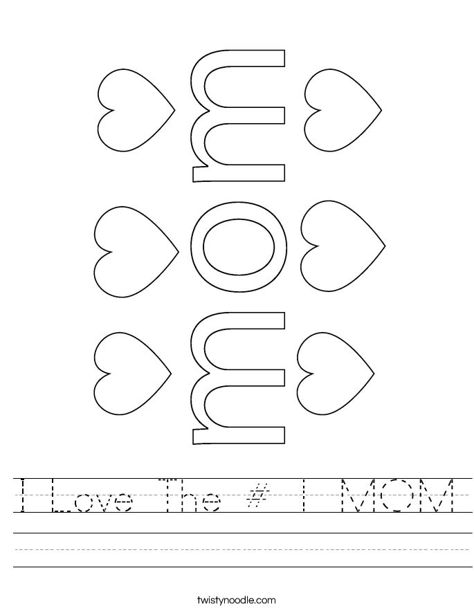 I Love The # 1 MOM Worksheet