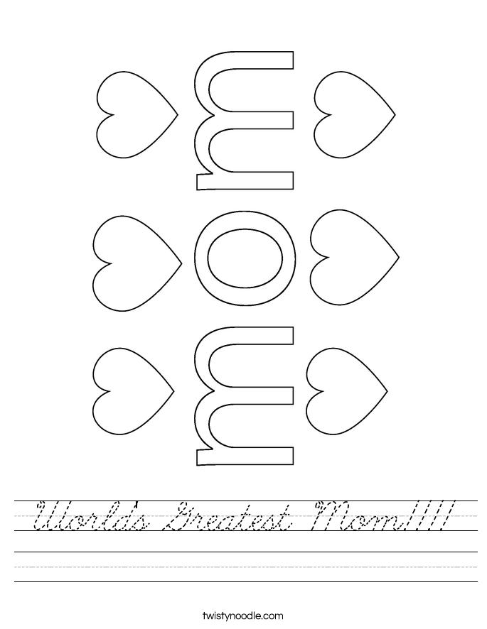 World's Greatest Mom!!!! Worksheet