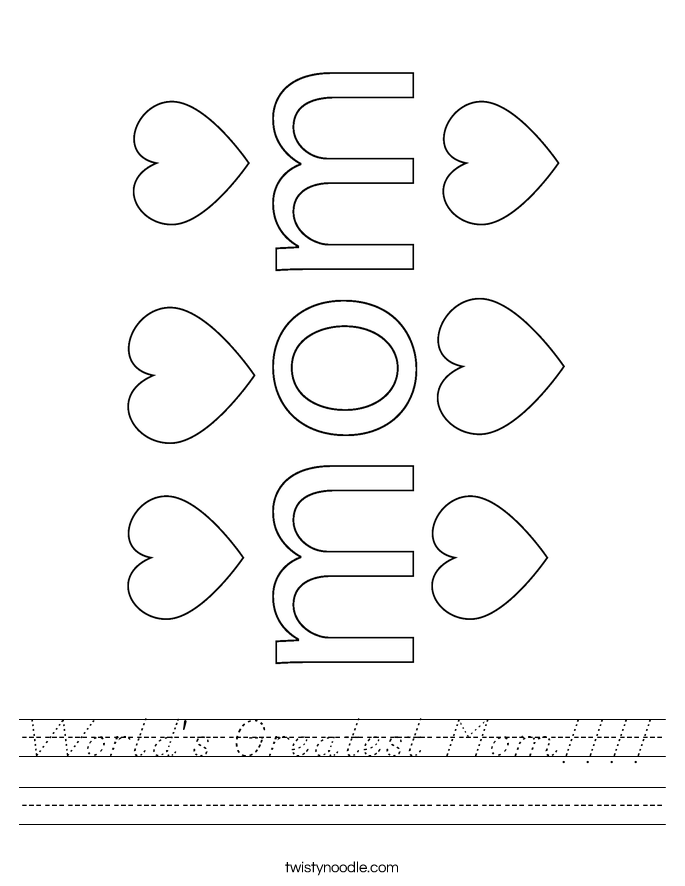 World's Greatest Mom!!!! Worksheet