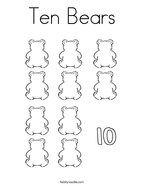 Ten Bears Coloring Page