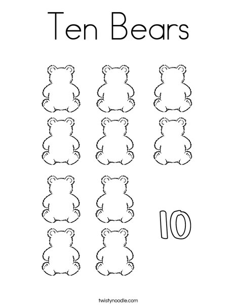 Ten Bears Coloring Page. Ten Bears Coloring Page. Kindergarten. Shapes And Colors Worksheets For Kindergarten At Mspartners.co