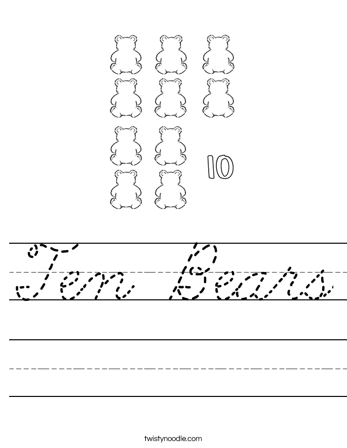 Ten Bears Worksheet