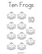 Ten Frogs Coloring Page