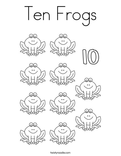 10 Frogs Coloring Page