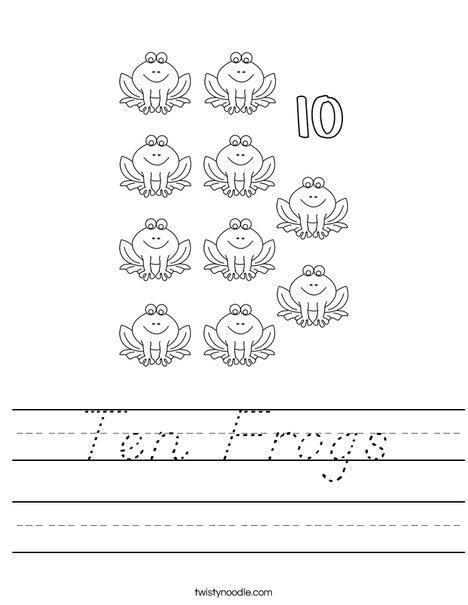 10 Frogs Worksheet
