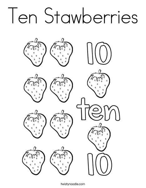 10 Strawberries Coloring Page