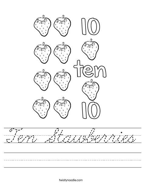 10 Strawberries Worksheet