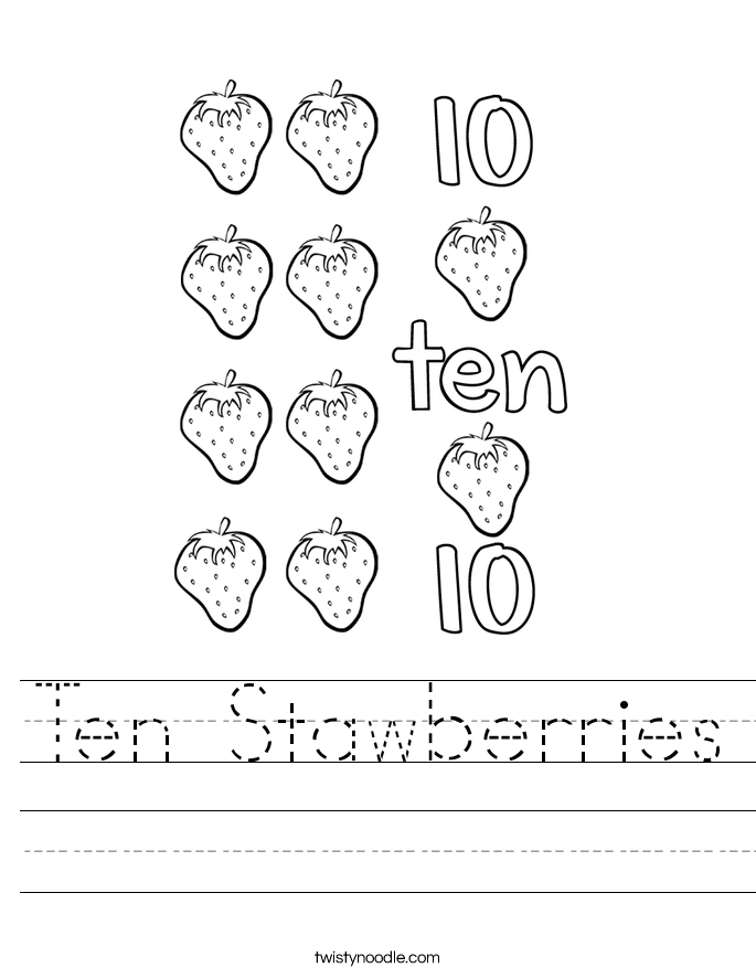 Ten Stawberries Worksheet