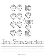 Ten Stawberries Handwriting Sheet