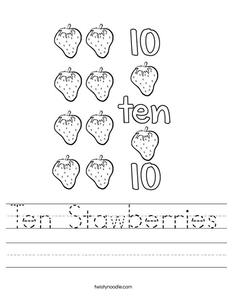 10 Strawberries Worksheet