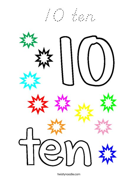 10 ten Coloring Page